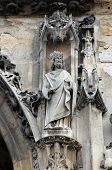 PARIS, FRANCE - NOV 11, 2012: Saint Charlemagne statue, Church of St-Germain-l'Auxerrois founded in