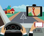 Using navigator with modern maps and applications in the car. Modern  vector illustration, flat-conc