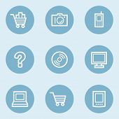 Electronics web icon set 1,  blue buttons