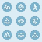 Travel  web icon set 3,  blue buttons