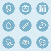 Medicine  web icon set 1, blue buttons