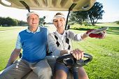stock photo of buggy  - Happy golfing couple sitting in golf buggy on a sunny day at the golf course - JPG