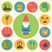 Gardening, garden vector icons set.