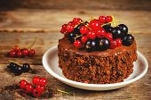 Chocolate Cake Mini With Red And Black Currants