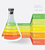 Laboratory flask with numbers. Science Vector background.