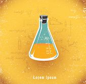 Chemical flask with yellow liquid. vector illustration