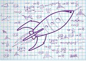 drawings of spaceship  on paper sheet. vector illustration