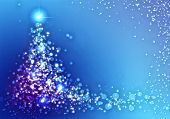 Conceptual blue image with christmas tree theme