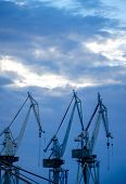 Harbor Cranes in the Evening