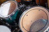stock photo of drum-kit  - Closeup take of a a shiny drum kit - JPG