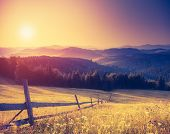 stock photo of morning  - Fantastic sunny hills under morning sky - JPG