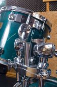 stock photo of drum-kit  - Closeup take of a a shiny drum kit - JPG