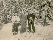 GERMANY, CIRCA FORTIES - Vintage photo of three women skiing