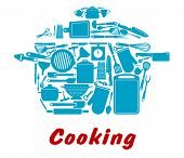 Cooking icon with kitchen utensil