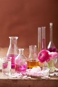 foto of flask  - alchemy and aromatherapy set with ranunculus flowers and flasks - JPG