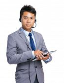 Customer services operator with digital tablet