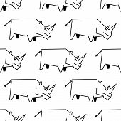 Seamless pattern of a stylized rhinoceros