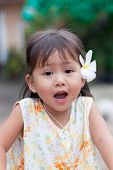 Portrait Of Little Asian Girl With Surprised Face