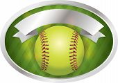 picture of softball  - An illustration of a softball on a emblem background - JPG
