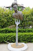 Statue The Chef by artist Lorenzo Mills at public art walk in town of Yountville, California