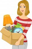 Illustration of a Girl Carrying a Box Full of Objects