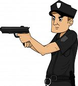 stock photo of criminology  - Illustration of a Policeman Holding a Gun - JPG