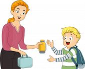 Illustration of a Mother Giving Her Son His Packed Lunch