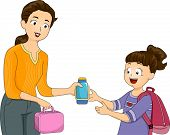 Illustration of a Mother Giving Her Daughter Her Packed Lunch