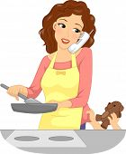 Illustration of a Mother Handling Multiple Tasks at the Same Time