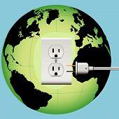 Energizar el enchufe eléctrico de la tierra en el globo de la energía de salida