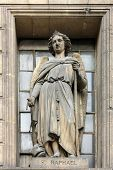 PARIS,FRANCE - NOV 09,2012: Archangel Raphael, architectural details of Eglise de la Madeleine. Made