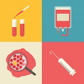 Medical icons set. Blood transfusion, test tubes, blood chemical composition and syringe.