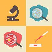 Laboratory icons set, medical examination , medical research. Microscope, microbes in water, blood c