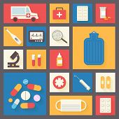 Medical vector icons set. Ambulance and pharmacy. Healthcare infographic elements.