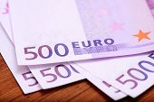 Europian currency euros banknotes on wooden table