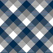 Checkered gingham fabric seamless pattern in blue grey and white, vector