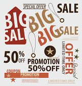 Word for Price tag, sale coupon, voucher. Vector illustration.