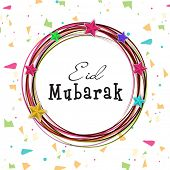 Stylish text Eid Mubarak in colourful circle on beautiful decorated circle for the celebrations of M