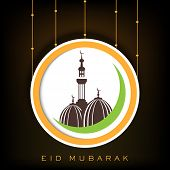 Stylish sticky with mosque on brown background for holy month of Muslim community Eid Mubarak.