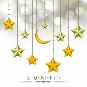 Hanging golden crescent moon with stars on shiny grey background for Muslim community festival Eid-Al-Fitr celebrations.