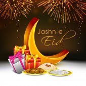 Muslim community festival Eid Mubarak celebrations with golden crescent moon, gift boxes and sweets