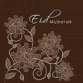 Beautiful floral design decorated Eid Mubarak greeting card design for Muslim community festival Eid Mubarak celebrations.