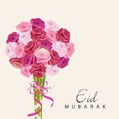 Beautiful roses bouquet for the occasion of Muslim community festival Eid Mubarak.