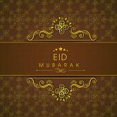 Beautiful golden floral design decorated Eid Mubarak greeting card design for Muslim community festival Eid Mubarak celebrations.