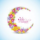 Colorful flowers decorated crescent moon on blue background for the occasion of Muslim community festival Eid Mubarak celebrations.