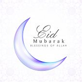 Shiny blue crescent moon on white background for the occasion of Muslim community festival Eid Mubar