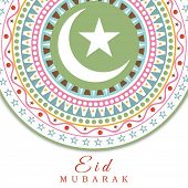 Beautiful floral design with crescent moon and star decorated greeting card design for the Muslim co