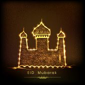 Golden mosque on brown background for the occasion of Muslim community festival Eid Mubarak celebrat