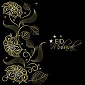 Beautiful golden flowers on black background for the occasion of Muslim community festival Eid Mubar