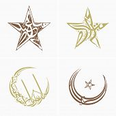 Arabic Islamic calligraphic set of text Eid Mubarak in crescent moon and star shape.